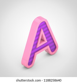 Pink letter A uppercase with violet stripes. 3D rendering isometric font isolated on white background.