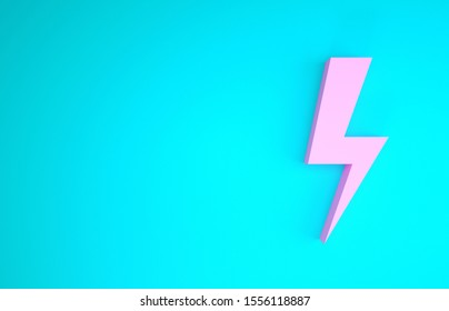 Pink Lightning bolt icon isolated on blue background. Flash icon. Charge flash icon. Thunder bolt. Lighting strike. Minimalism concept. 3d illustration 3D render