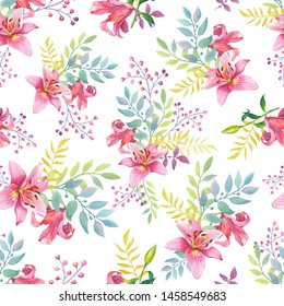 Pink Lilies.Watercolor  flowers on a white background. illustration. Seamless pattern.Can be used for textile,fabric, wrapping paper,design a web site.