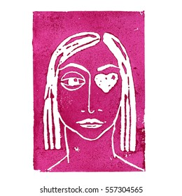 Pink linocut girl with heart instead of an eye