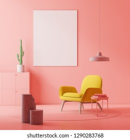 Pink living room interior with yellow armchair standing near coffee table with books and vertical poster on the wall. 3d rendering mock up