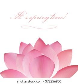 pink lotus flower on white background. Oriental japanase,chinese or indian pattern. illustration greeting card