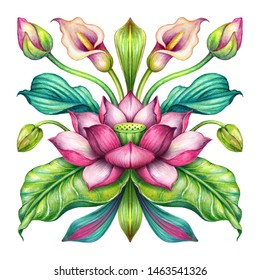pink lotus flowers with green leaves isolated on white background, oriental floral ornament, folklore motif, kerchief design, chinese embroidery pattern, boho fashion print, watercolor illustration