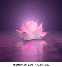 Pink lotus on the water surface. Pink shine. 3d generated image. Dark lilac background. Reflection in water.