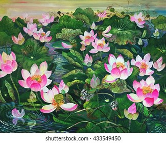 The Pink Lotus in Pond.