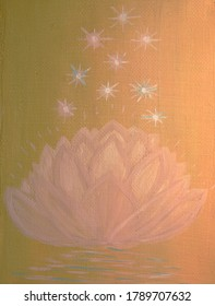 Pink lotus with stars painted with oil paints on canvas