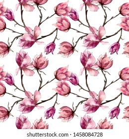 Pink magnolia floral botanical flowers. Wild spring leaf wildflower. Watercolor illustration set. Watercolour drawing fashion aquarelle. Seamless background pattern. Fabric wallpaper print texture.