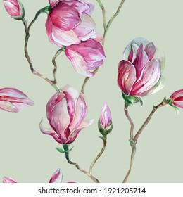 Pink magnolia flowers. Watercolor pattern.