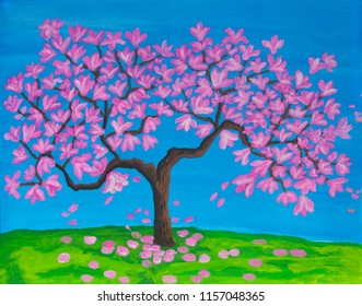 Pink magnolia tree in blossom, acrylic painting on canvas