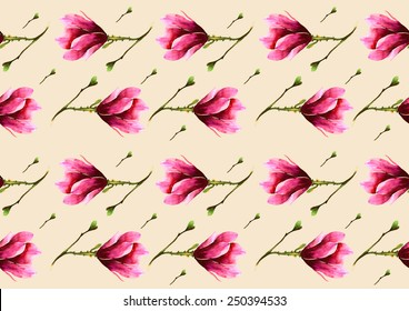 Pink magnolias on ivory background pattern