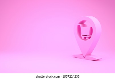 Pink Map pointer with shopping cart icon isolated on pink background. Pin point shop and shopping. Supermarket basket symbol. Minimalism concept. 3d illustration 3D render