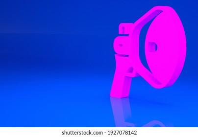 Pink Megaphone icon isolated on blue background. Speaker sign. Minimalism concept. 3d illustration. 3D render..