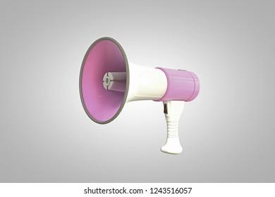 pink megaphone isolated on white background 3d illustration