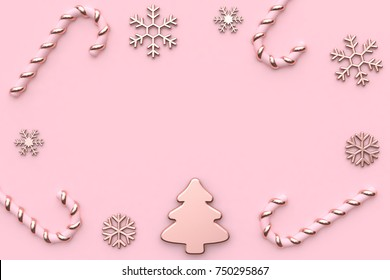 pink metallic glossy-rose gold christmas holiday new year concept minimal pink background abstract christmas tree snow candy 3d rendering
