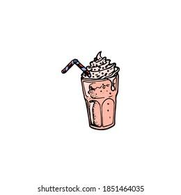 pink milkshake with a straw