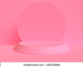 Pink Minimalist geometrical abstract background, pastel colors, 3D render, trend poster, Illustration. Concept : Valentine, Love, Flame.