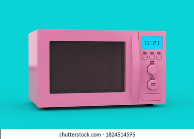 Pink Modern Microwave Oven as Duotone Style on a blue background. 3d Rendering