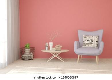 Pink modern room with armchair. Scandinavian interior design. 3D illustration