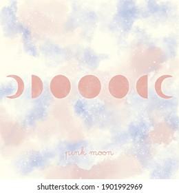 rosafarbene Mondphasen auf kosmischem Hintergrund