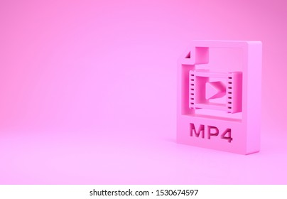 Pink MP4 file document. Download mp4 button icon isolated on pink background. MP4 file symbol. Minimalism concept. 3d illustration 3D render