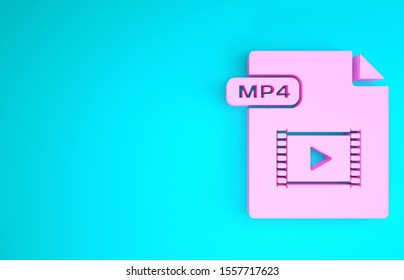 Pink MP4 file document. Download mp4 button icon isolated on blue background. MP4 file symbol. Minimalism concept. 3d illustration 3D render