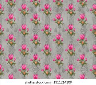 pink mughal floral motif  background negative effect