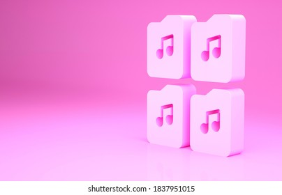 Pink Music file document icon isolated on pink background. Waveform audio file format for digital audio riff files. Minimalism concept. 3d illustration 3D render.
