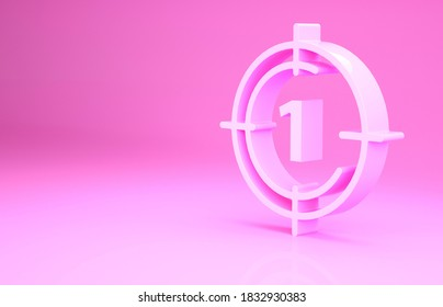 Pink Old film movie countdown frame icon isolated on pink background. Vintage retro cinema timer count. Minimalism concept. 3d illustration 3D render.