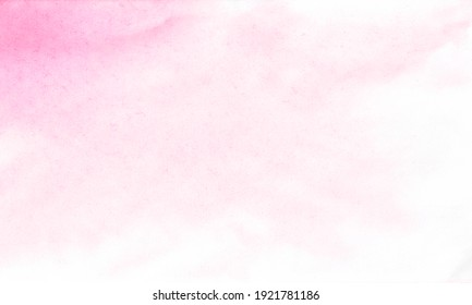 Pink on white watercolor abstract background. Hand drawn on the paper.