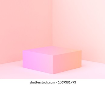 pink orange abstract wall corner scene 3d rendering minimal gradient podium