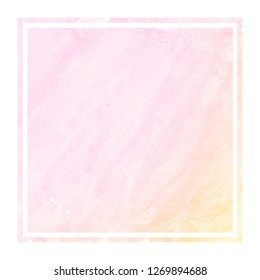 Pink and orange hand drawn watercolor rectangular frame background texture with stains