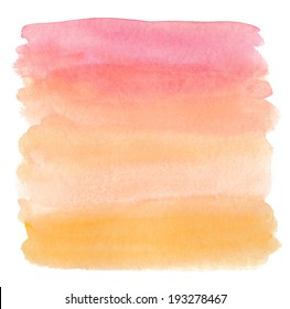 Pink and Orange Ombre Watercolor Wash Background.