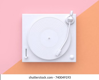 pink orange pastel background tilted white vinyl record vinyl player abstract minimal 3d rendering music technology concept