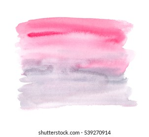 Pink to pale grey gradient painted in watercolor on clean white background