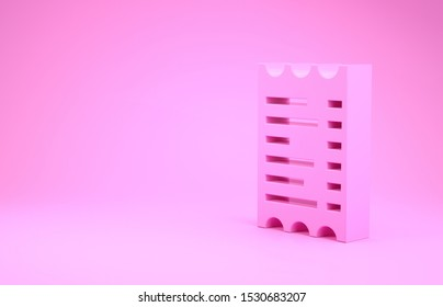Pink Paper check and financial check icon isolated on pink background. Paper print check, shop receipt or bill. Minimalism concept. 3d illustration 3D render