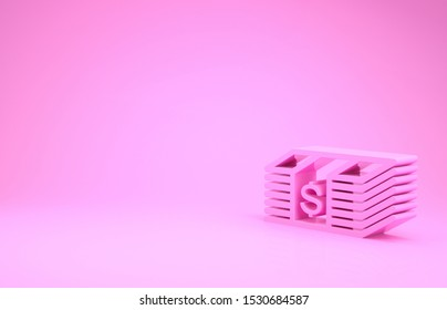 Pink Paper money american dollars cash icon isolated on pink background. Money banknotes stack with dollar icon. Bill currency. Minimalism concept. 3d illustration 3D render