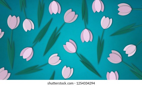 Pink paper tulip flowers