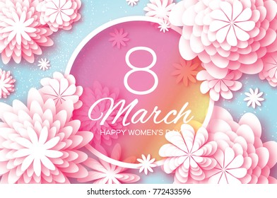 Pink Pastel Paper Cut Flower. 8 March. Women's Day Greeting card. Origami Floral bouquet. Circle frame. Space for text on blue background. Happy Mother's Day.  Spring illustration