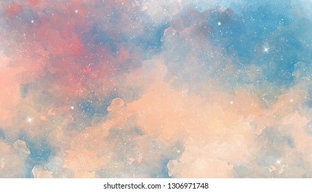 Pink pastel watercolor space background
