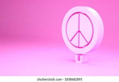 Pink Peace icon isolated on pink background. Hippie symbol of peace. Minimalism concept. 3d illustration 3D render.