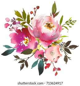 Pink Peach Watercolor Floral Frame Peonies Roses Leaves Isolated on White Background