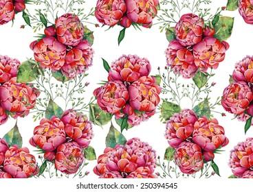 Pink peonies on white background pattern