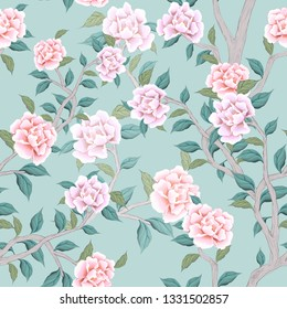 pink peonies  seamless pattern for fabrics, paper, wallpaper