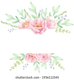 pink peony flower bouquet wreath frame for banner or logo