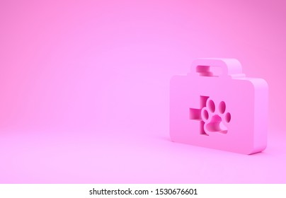 Pink Pet first aid kit icon isolated on pink background. Dog or cat paw print. Clinic box. Minimalism concept. 3d illustration 3D render