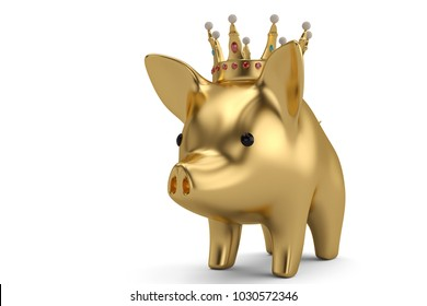 Pink piggy bank with crown.3D illustration