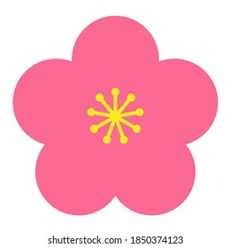 Pink plum blossom flower illustration with white background. Cute, simple and lovely image.