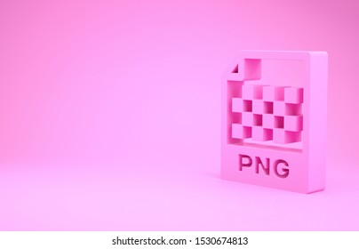 Pink PNG file document. Download png button icon isolated on pink background. PNG file symbol. Minimalism concept. 3d illustration 3D render