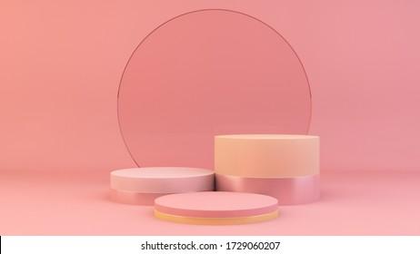 Podio rosado con el fondo del círculo de vidrio 3d renderizado