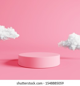 Pink podium with cloud on pastel pink background. 3d rendering